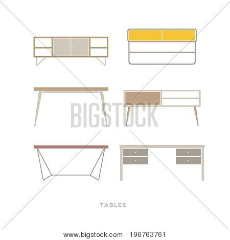 Set of tables on light background. Furniture for home and office. Furniture icons. Vector illustration.