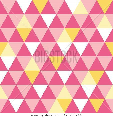 Vector pink and yellow triangle texture seamless repeat pattern background. Perfect for modern fabric, wallpaper, wrapping, stationery, home decor projects. Surface pattern design.