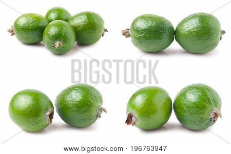whole feijoa isolated on white background. Set or collection.