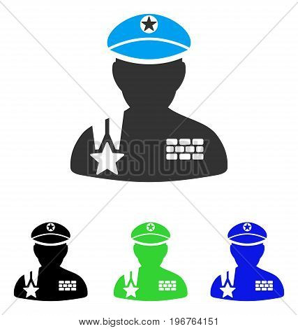 Army General vector pictograph. Style is flat graphic army general symbol using some color variants.