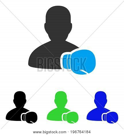 Boxing Sportsman vector pictogram. Style is flat graphic boxing sportsman symbol using some color variants.