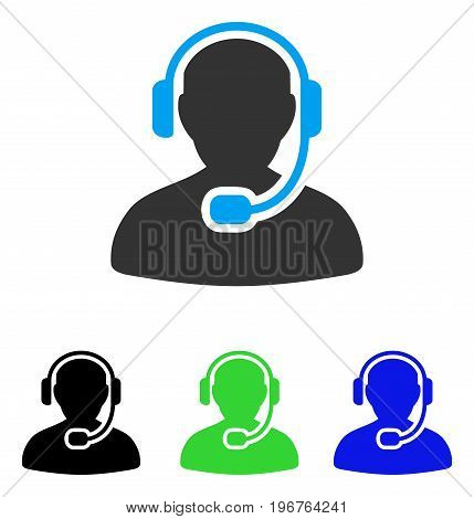 Call Center Worker vector icon. Style is flat graphic call center worker symbol using some color variants.