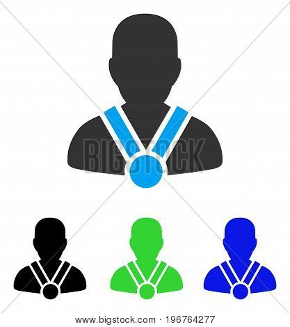Champion vector pictogram. Style is flat graphic champion symbol using some color variants.