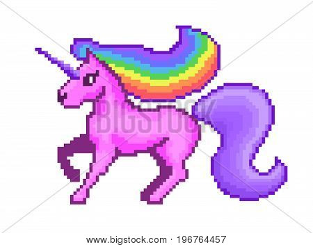 Pixel art game style cute pink unicorn with rainbow mane. vector illustration.
