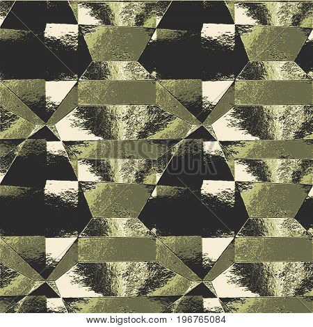 Abstract folded brushed metal background of polygons. Green, black and white wrinkled scratched background resembling metal foil