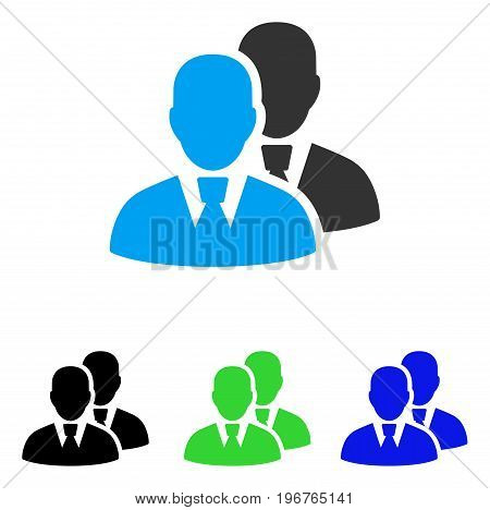 Managers vector pictogram. Style is flat graphic managers symbol using some color variants.