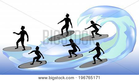 Silhouettes of surfers on waves. Boys and girls surf on the water