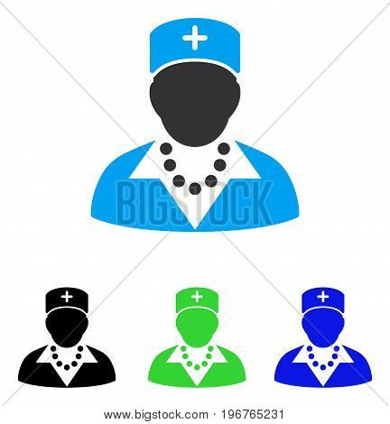 Nurse vector pictogram. Style is flat graphic nurse symbol using some color variants.