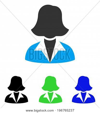 Office Lady vector pictogram. Style is flat graphic office lady symbol using some color variants.