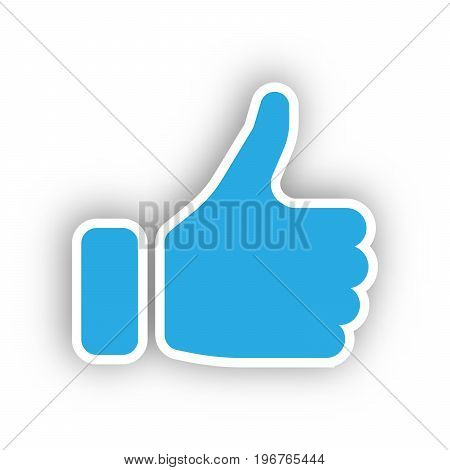 Blue hand silhouette with thumb up. Gesture of like, agree, yes, approval or encouragement. Vector illustration with dropped shadow.