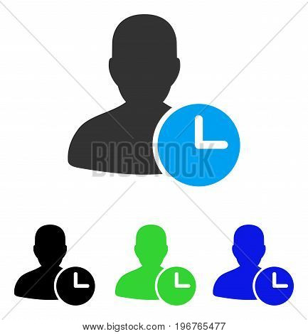 Time Management Clock vector pictogram. Style is flat graphic time management clock symbol using some color variants.
