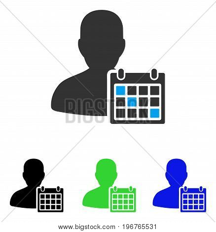 User Schedule vector pictograph. Style is flat graphic user schedule symbol using some color variants.