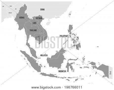 ASEAN Economic Community, AEC, map. Grey map with dark gray highlighted member countries, Southeast Asia. Vector illustration.
