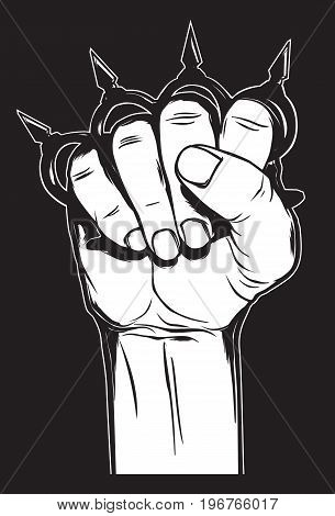 Human hand with brass knuckles. Criminal illustartion