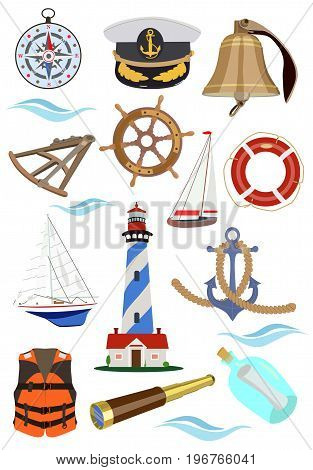 Vector collection of accessories, signs and symbols of sea navigation on a ship, yacht or sailboat on a white background.
