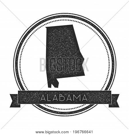 Alabama Vector Map Stamp. Retro Distressed Insignia With Us State Map. Hipster Round Rubber Stamp Wi