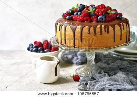 Homemade Summer Sponge Cake With Cream And Fresh Berries.
