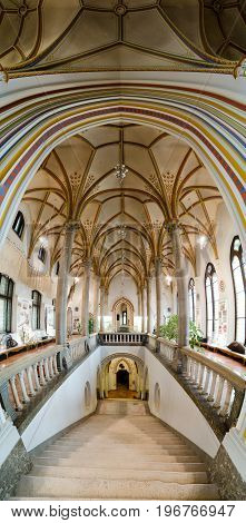 BUDAPEST, HUNGARY - FEBRUARY 23, 2016: The interior of the castle Vajdahunyad in Budapest. In one of the halls there is an exhibition of the Museum of agriculture.