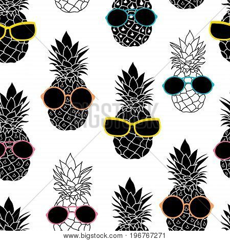 Vector pineapples wearing colorful sunglasses summer vacation tropical seamless pattern. Great for vacation themed fabric, wallpaper, packaging. Surface pattern design.