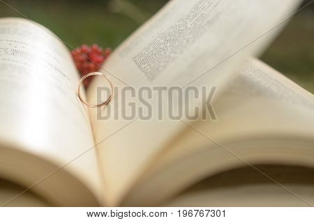 An open book with an engagement ring as a symbol of love