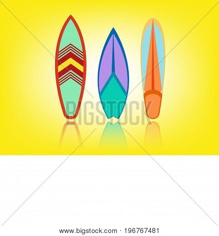 set surfboard colorful . Sea extreme sport pattern. Vector illustration isolated or yellow background