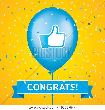 Thumbs up printed blue ballon with ribbon and colorfull confetti on a yellow background. Greeting card vector design.