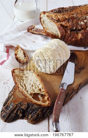French goat cheese milk and country sourdough bread