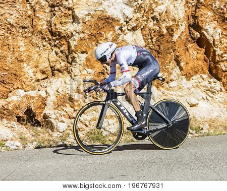 Col du Serre de TourreFrance - July 152016: The Dutch cyclist Bauke Mollema of Trek-Segafredo Team riding during an individual time trial stage in Ardeche Gorges on Col du Serre de Tourre during Tour de France 2016.