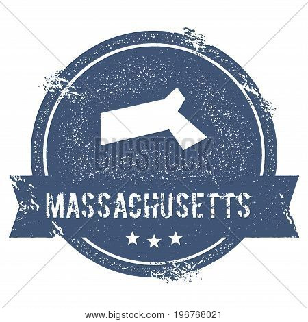 Massachusetts Mark. Travel Rubber Stamp With The Name And Map Of Massachusetts, Vector Illustration.