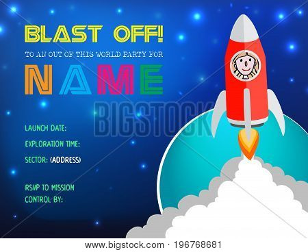 Flat design vector illustration Child's Rocket Birthday Party Invitation with space to replace current photo inside the rocket with your child's photo