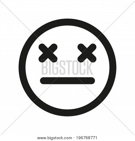 Dead smiley. Emoji icon on isolated white background