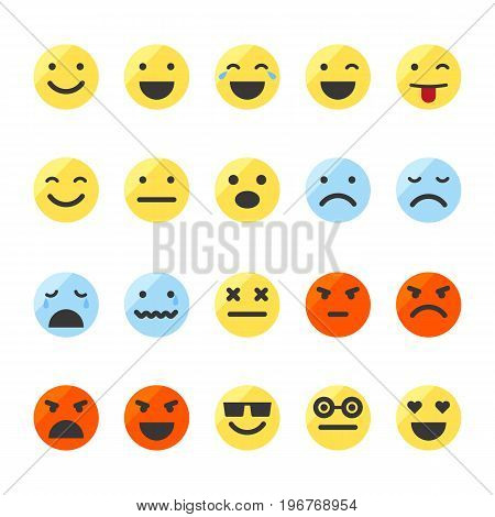 Colored emoji icons set. Smiley images on isolated white background.