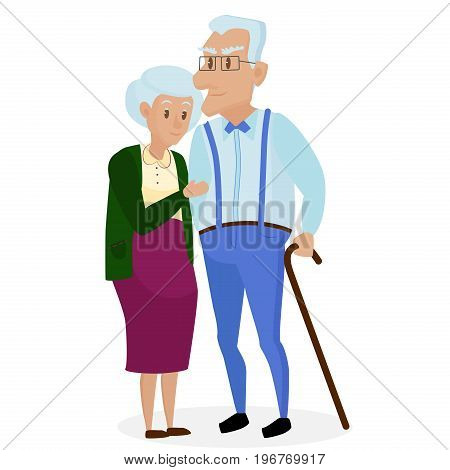 Happy grandparents together isolated. Grandparents day. Grandpa and grandma. Elderly couple. Cartoon vector illustration
