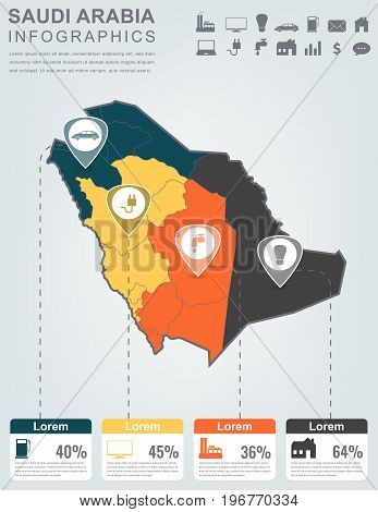 Saudi Arabia map with Infographic elements. Infographics layouts. Vector illustration