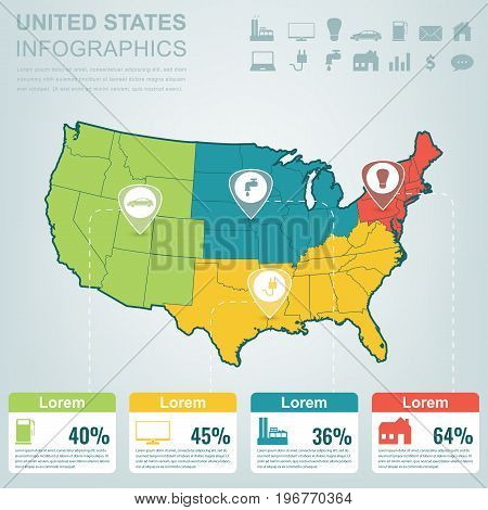 USA map with Infographic elements. Infographics layouts. Vector illustration