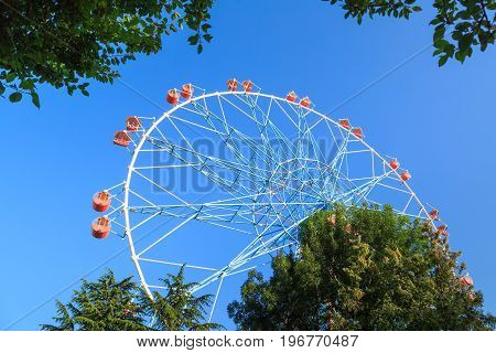 The biggest ferris wheel in the amusement park in Russia