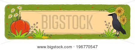 Decorative fall blank banner with crow, pumpkin and flowers. Eps10