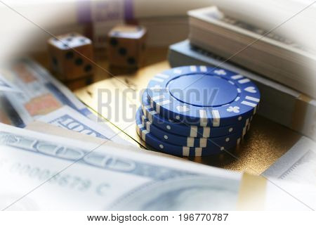 Poker Stock Photo With Money, Poker Chips & Dice High Quality
