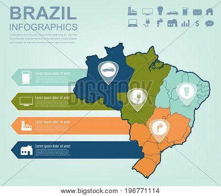 Brazil map with Infographic elements. Infographics layouts. Vector illustration