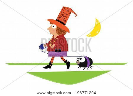 Cute cartoon of a witch walking her pet spider. Eps10