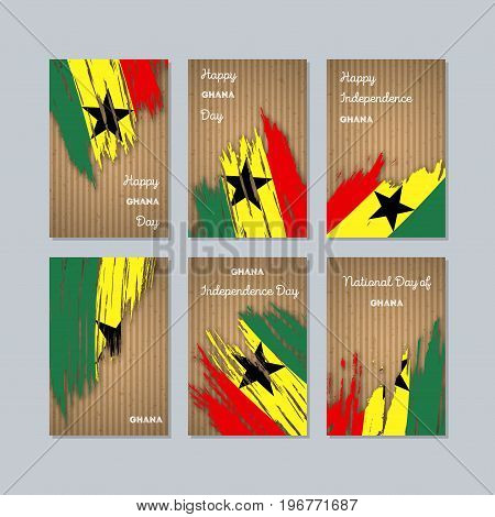 Ghana Patriotic Cards For National Day. Expressive Brush Stroke In National Flag Colors On Kraft Pap