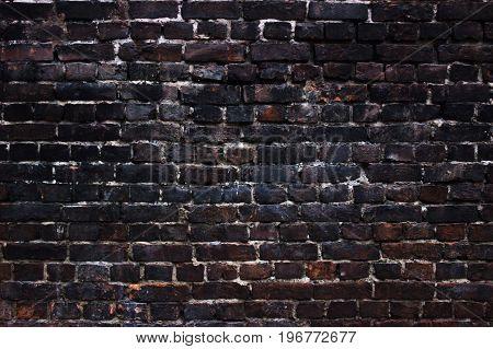 Old brick wall black background grunge texture