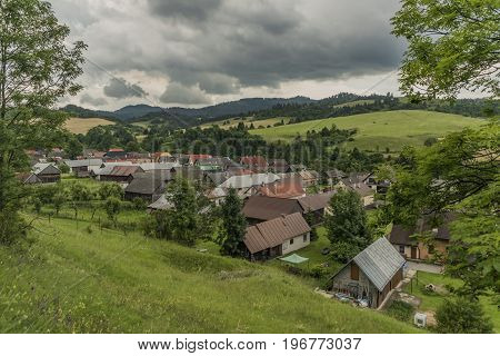 Velky Lipnik village in Pieniny national park in dark cloudy day