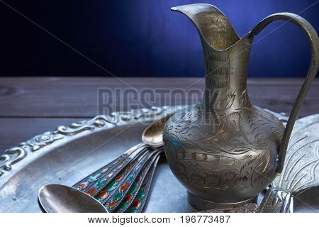 Closeup Of Kitchen Silverware Jug Utensil