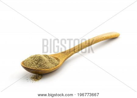 Pepper In Wooden Spoon On White Background