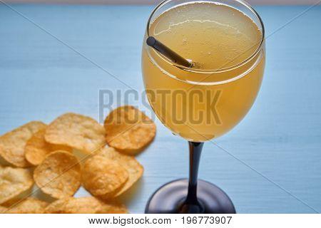 Closeup Of Golden Mixed Drink Shake