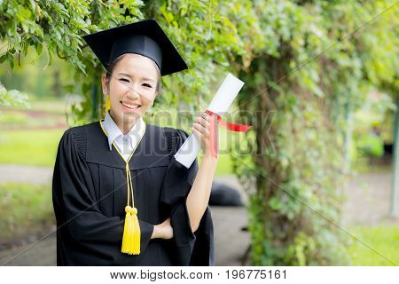 Happy Graduated Student Girl Hold Certificate, Congratulations Of Education Success.