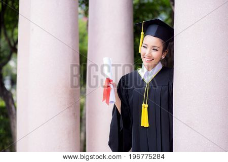 Happy Graduated Student Girl, Congratulations Of Education Success.