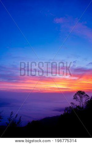 Sunrise At Samer Dao Mountain At Nan, Thailand