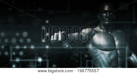Abstract Technology Background with Man Interacting with UI 3D Illustration Render